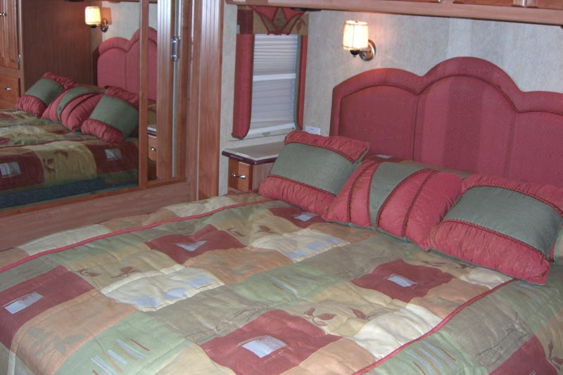 bedroom of a class a motorhome